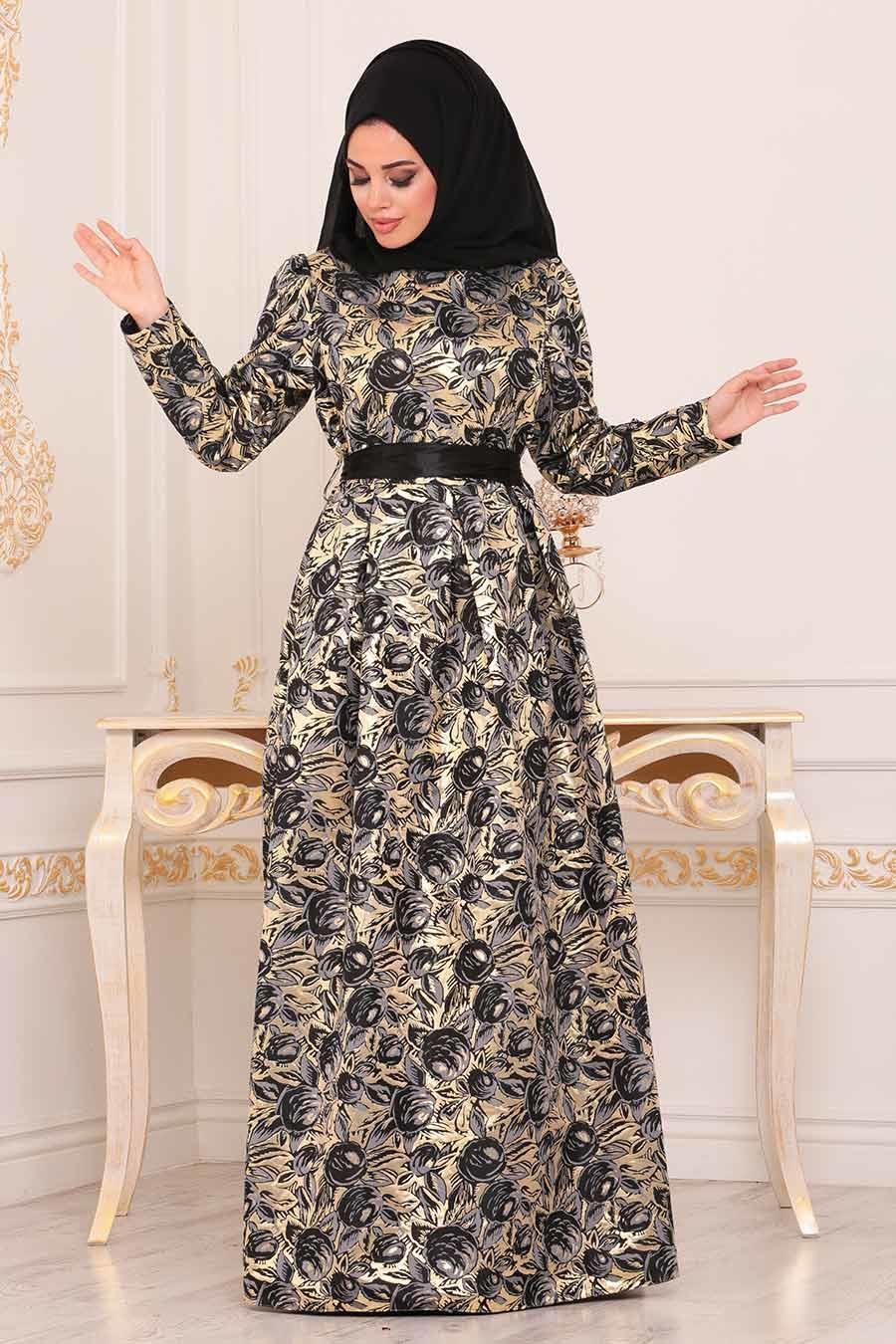 Nayla Collection - Desenli Siyah Jakarlı Tesettür Abiye Elbise 82453S