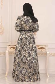 Nayla Collection - Desenli Siyah Jakarlı Tesettür Abiye Elbise 82453S - Thumbnail