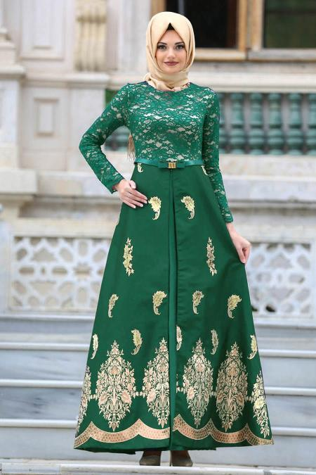 Nayla Collection - Desenli Yeşil Tesettür Abiye Elbise 82450Y