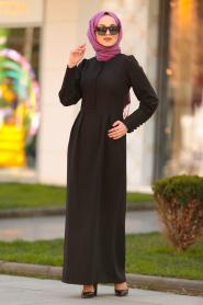 Nayla Collection - Düğme Detaylı Siyah Tesettür Elbise 3237S - Thumbnail