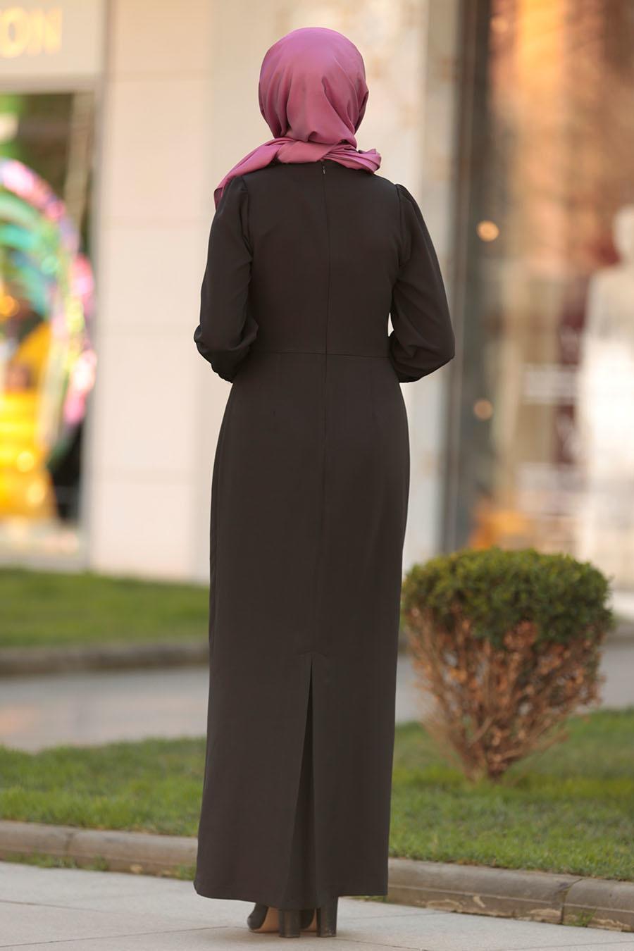 Nayla Collection - Düğme Detaylı Siyah Tesettür Elbise 3237S
