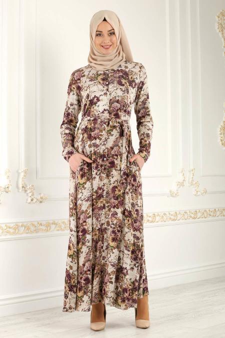Nayla Collection - Düğmeli Çiçek Desenli Mürdüm Tesettür Elbise 1609MU