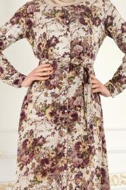 Nayla Collection - Düğmeli Çiçek Desenli Mürdüm Tesettür Elbise 1609MU - Thumbnail
