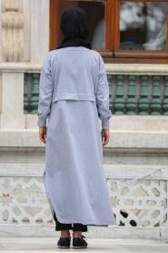 Nayla Collection - Düğmeli Gri Tesettür Kap 8058GR - Thumbnail