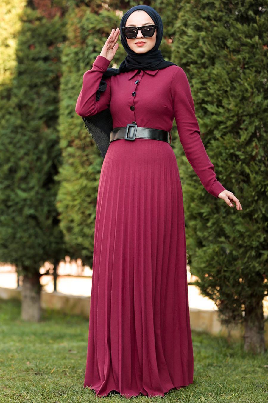 Nayla Collection - Düğmeli Kemerli Bordo Tesettür Elbise 8396BR