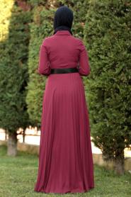 Nayla Collection - Düğmeli Kemerli Bordo Tesettür Elbise 8396BR - Thumbnail