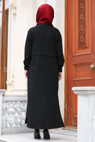 Nayla Collection - Düğmeli Siyah Tesettür Kap 8058S - Thumbnail
