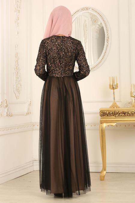 Nayla Collection - Eteği Tül Detaylı Vizon Tesettür Abiye Elbise 25665V