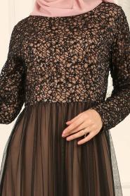 Nayla Collection - Eteği Tül Detaylı Vizon Tesettür Abiye Elbise 25665V - Thumbnail