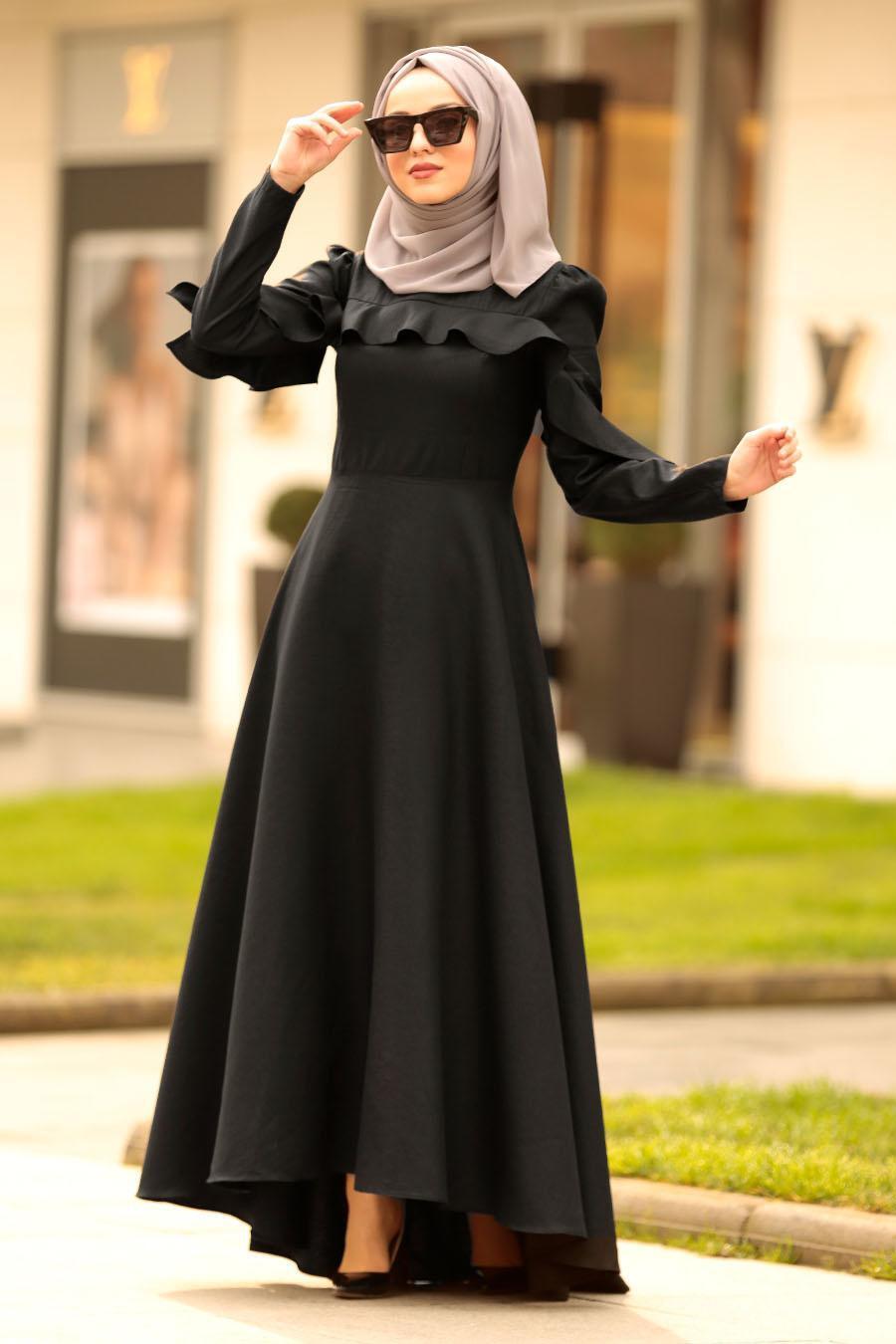 Nayla Collection - Fırfırlı Siyah Tesettür Elbise 4262S