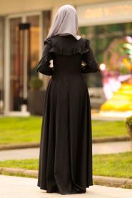 Nayla Collection - Fırfırlı Siyah Tesettür Elbise 4262S - Thumbnail