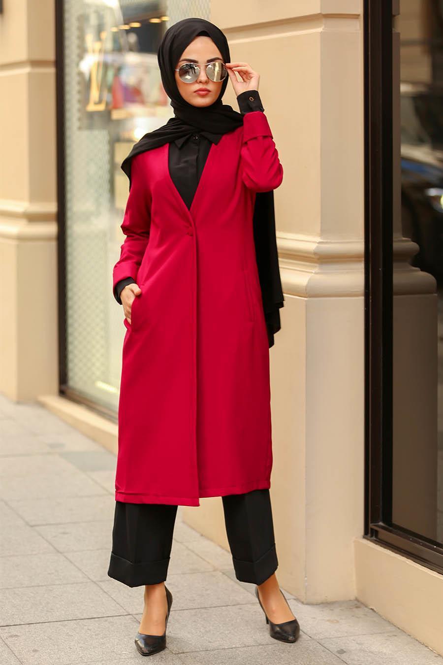 Nayla Collection -Fuchsia Hijab Coat 40230F