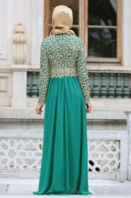 Nayla Collection - Gold Dantelli Çağla Yeşili Tesettür Abiye Elbise 3347CY - Thumbnail
