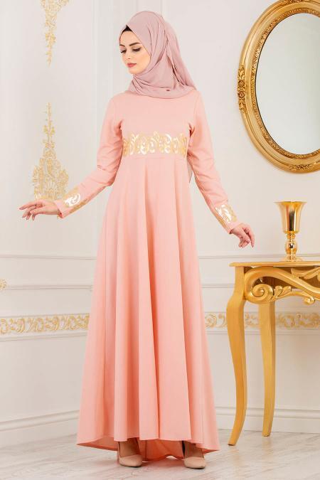 Nayla Collection - Gold Desenli Somon Tesettür Elbise 79550SMN