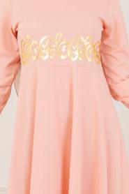 Nayla Collection - Gold Desenli Somon Tesettür Elbise 79550SMN - Thumbnail
