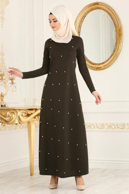 Nayla Collection - İnci Detaylı Haki Tesettür Elbise 76340HK