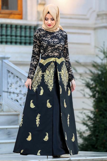 Nayla Collection - Jakarlı Siyah Tesettür Abiye Elbise 82445S