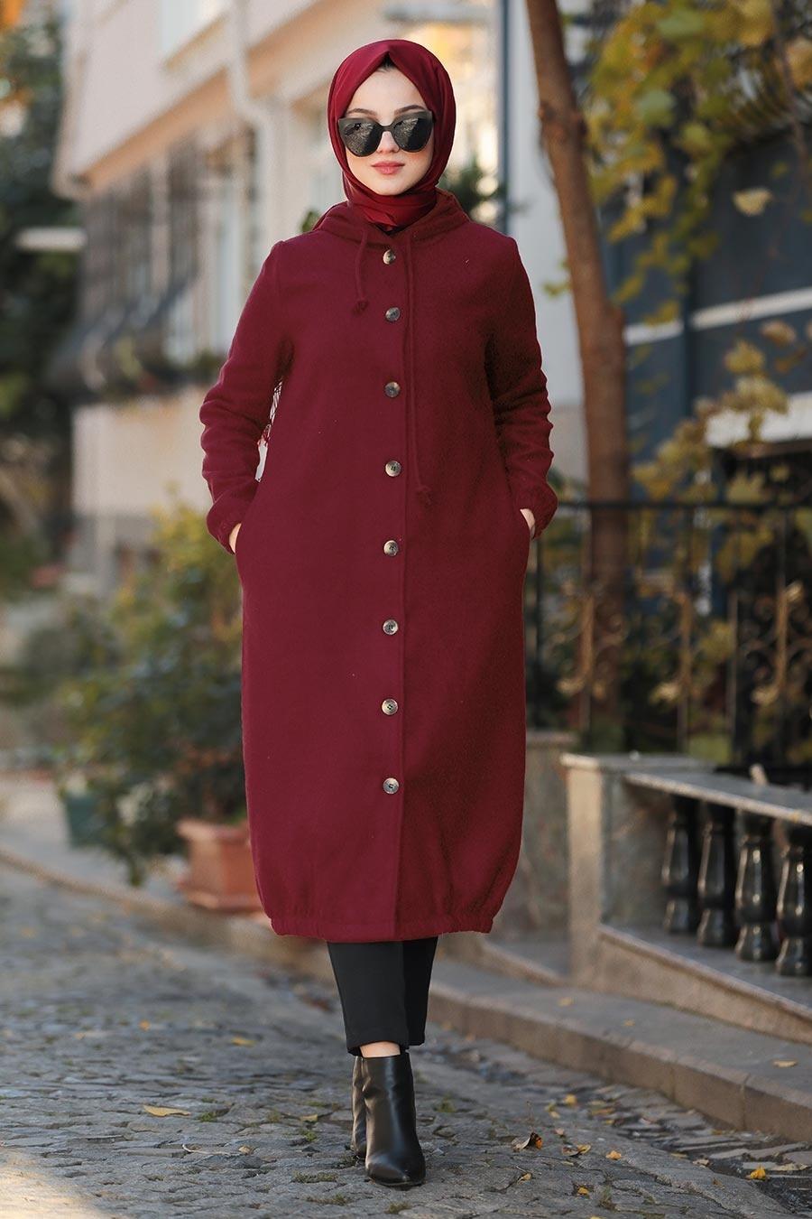 Nayla Collection - Kapşonlu Bordo Tesettür Kaşe Kap 5403BR