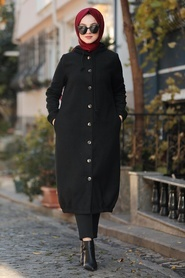 Nayla Collection - Kapşonlu Siyah Tesettür Kaşe Kap 5403S - Thumbnail
