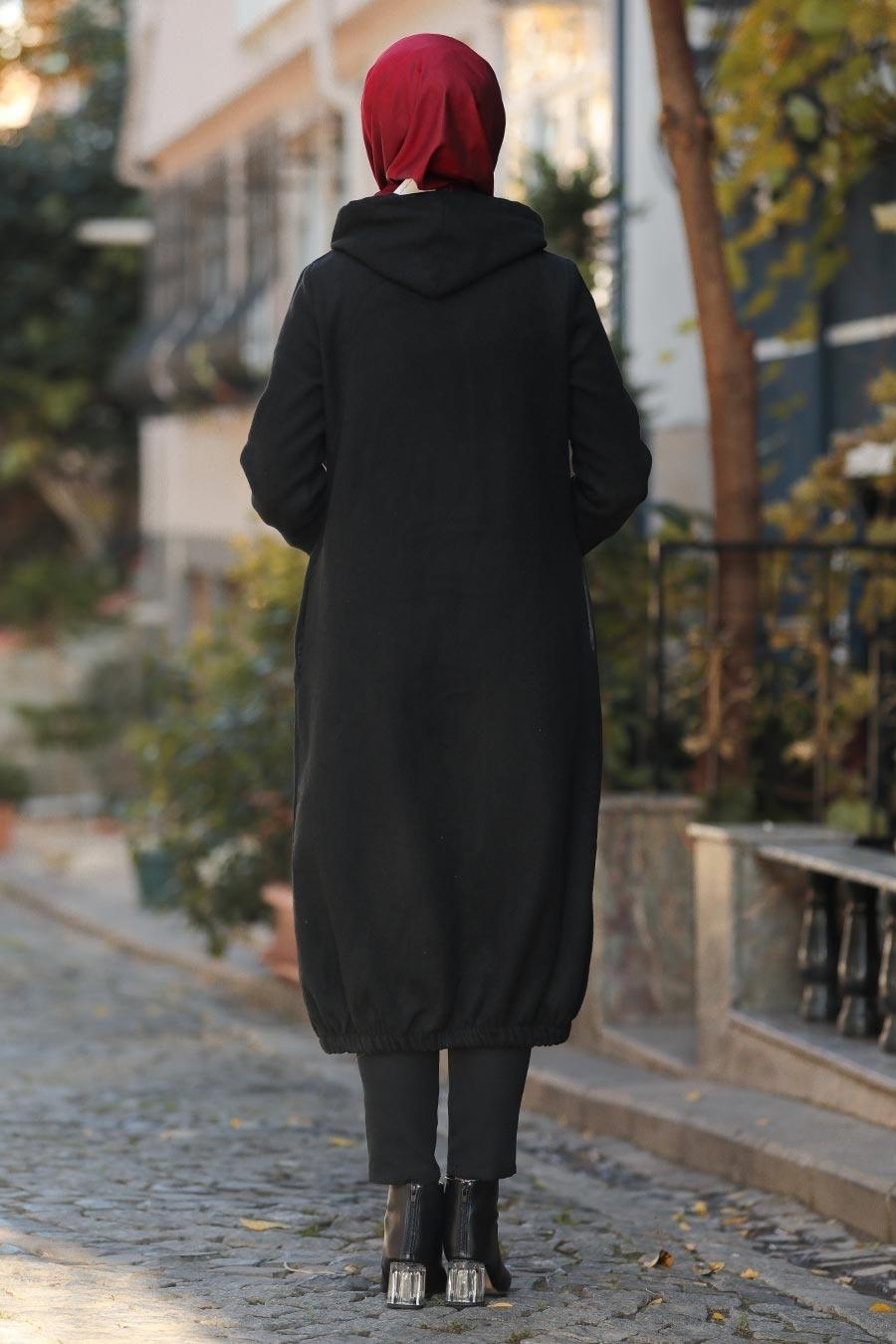 Nayla Collection - Kapşonlu Siyah Tesettür Kaşe Kap 5403S