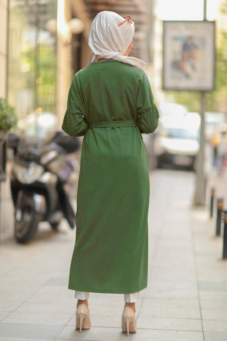 Nayla Collection - Kemerli Fıstık Yeşili Tesettür Abaya 77960FY