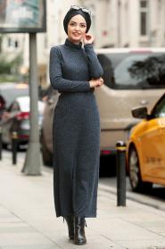 Nayla Collection - Kemerli Lacivert Tesettür Triko Elbise 3180L - Thumbnail