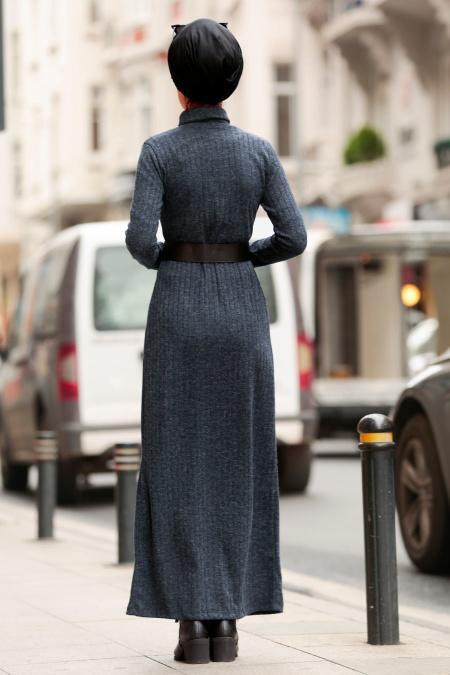 Nayla Collection - Kemerli Lacivert Tesettür Triko Elbise 3180L