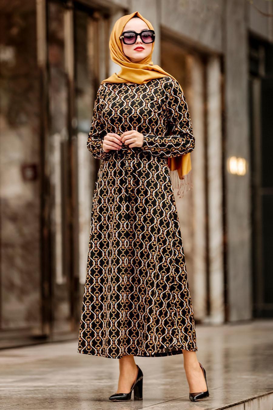 Nayla Collection - Kemerli Siyah Tesettür Elbise 1923S