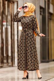 Nayla Collection - Kemerli Siyah Tesettür Elbise 1923S - Thumbnail