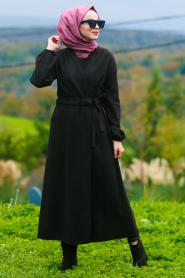 Nayla Collection - Kemerli Siyah Tesettür Kaşe Kap 5409S - Thumbnail