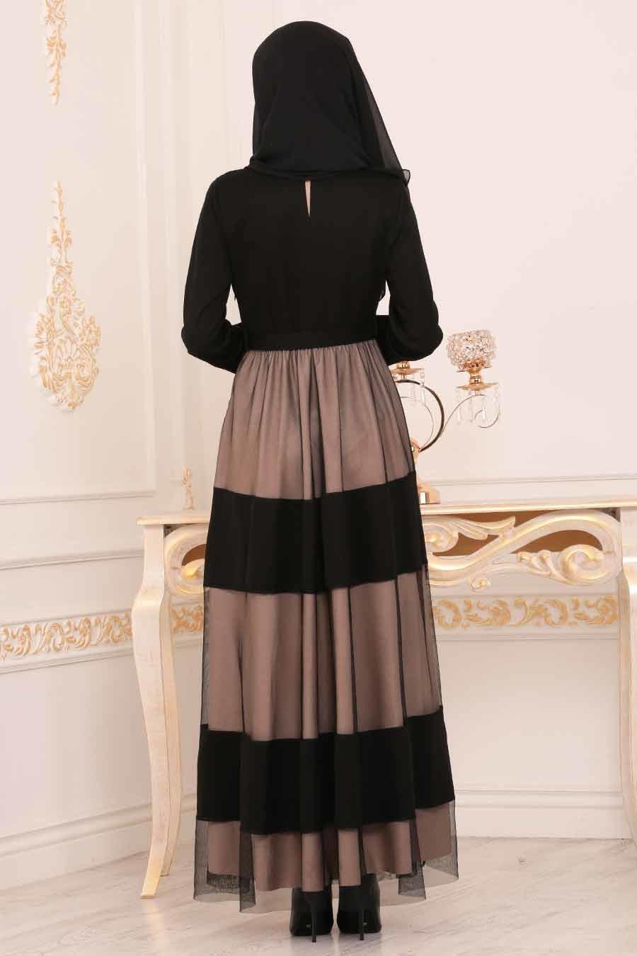 Nayla Collection - Kemerli Taş Tesettür Elbise 91090TAS