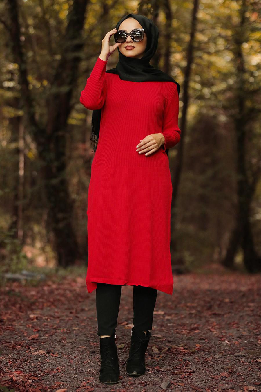 Nayla Collection - Kırmızı Tesettür Triko Tunik 15432K