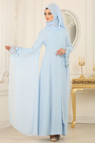 Nayla Collection - Kolları Detaylı Bebek Mavisi Tesettür Abiye Elbise 25669BM - Thumbnail