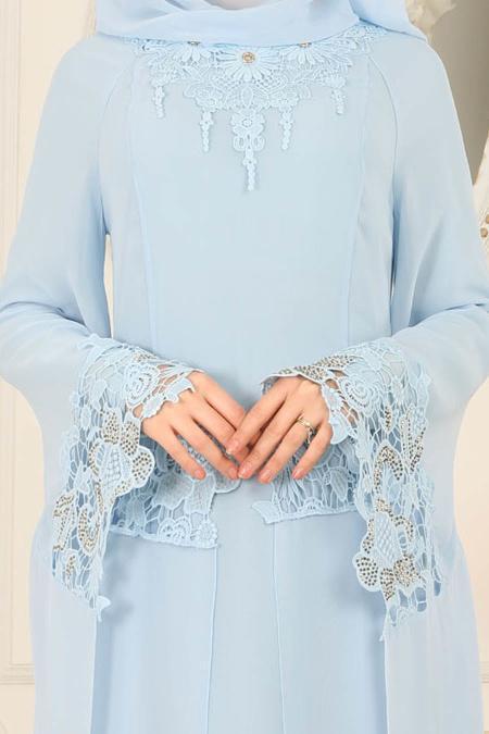 Nayla Collection - Kolları Detaylı Bebek Mavisi Tesettür Abiye Elbise 25669BM