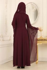 Nayla Collection - Kolları Detaylı Mürdüm Tesettür Abiye Elbise 25669MU - Thumbnail