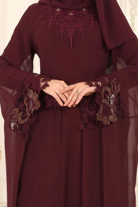 Nayla Collection - Kolları Detaylı Mürdüm Tesettür Abiye Elbise 25669MU