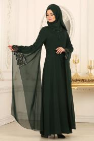 Nayla Collection - Kolları Detaylı Yeşil Tesettür Abiye Elbise 25669Y - Thumbnail