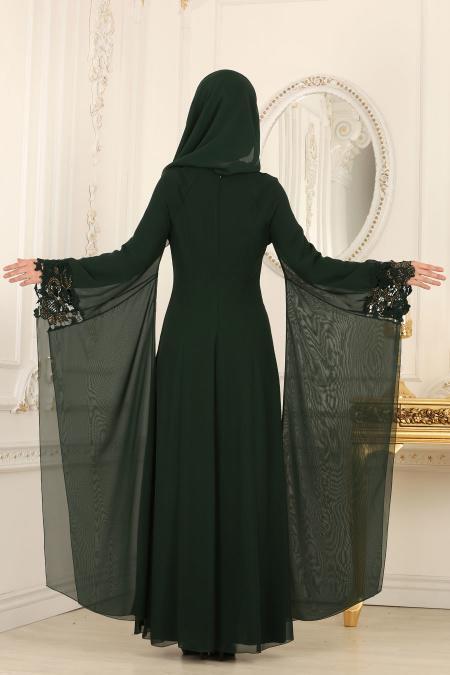 Nayla Collection - Kolları Detaylı Yeşil Tesettür Abiye Elbise 25669Y