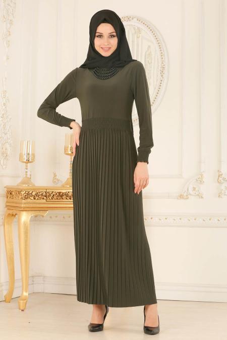 Nayla Collection - Kolye Detaylı Haki Tesettür Elbise 5240HK