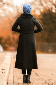Nayla Collection - Kürk Detaylı Fermuarlı Siyah Tesettür Kap 40261S - Thumbnail
