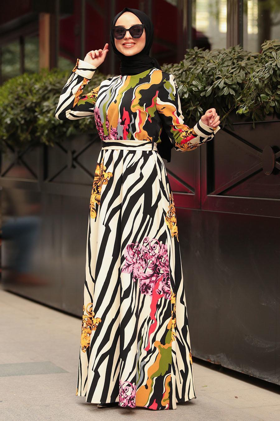 Nayla Collection - Kuşaklı Desenli Tesettür Elbise 1238DSN