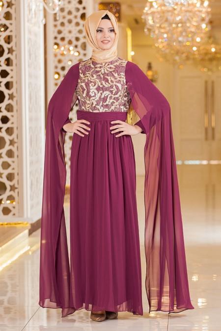 Nayla Collection - Mürdüm Elbise
