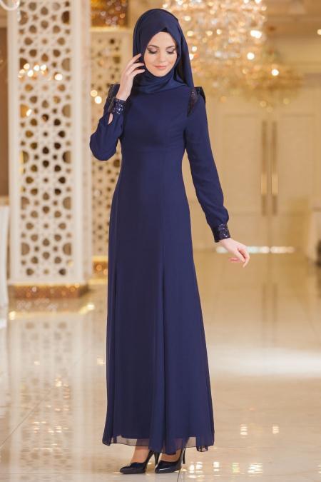 Nayla Collection - Payet Detaylı Lacivert Elbise