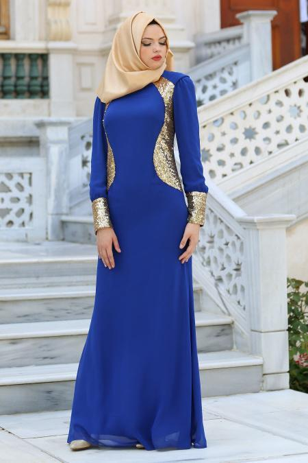 Nayla Collection - Payet Detaylı Sax Mavi Elbise
