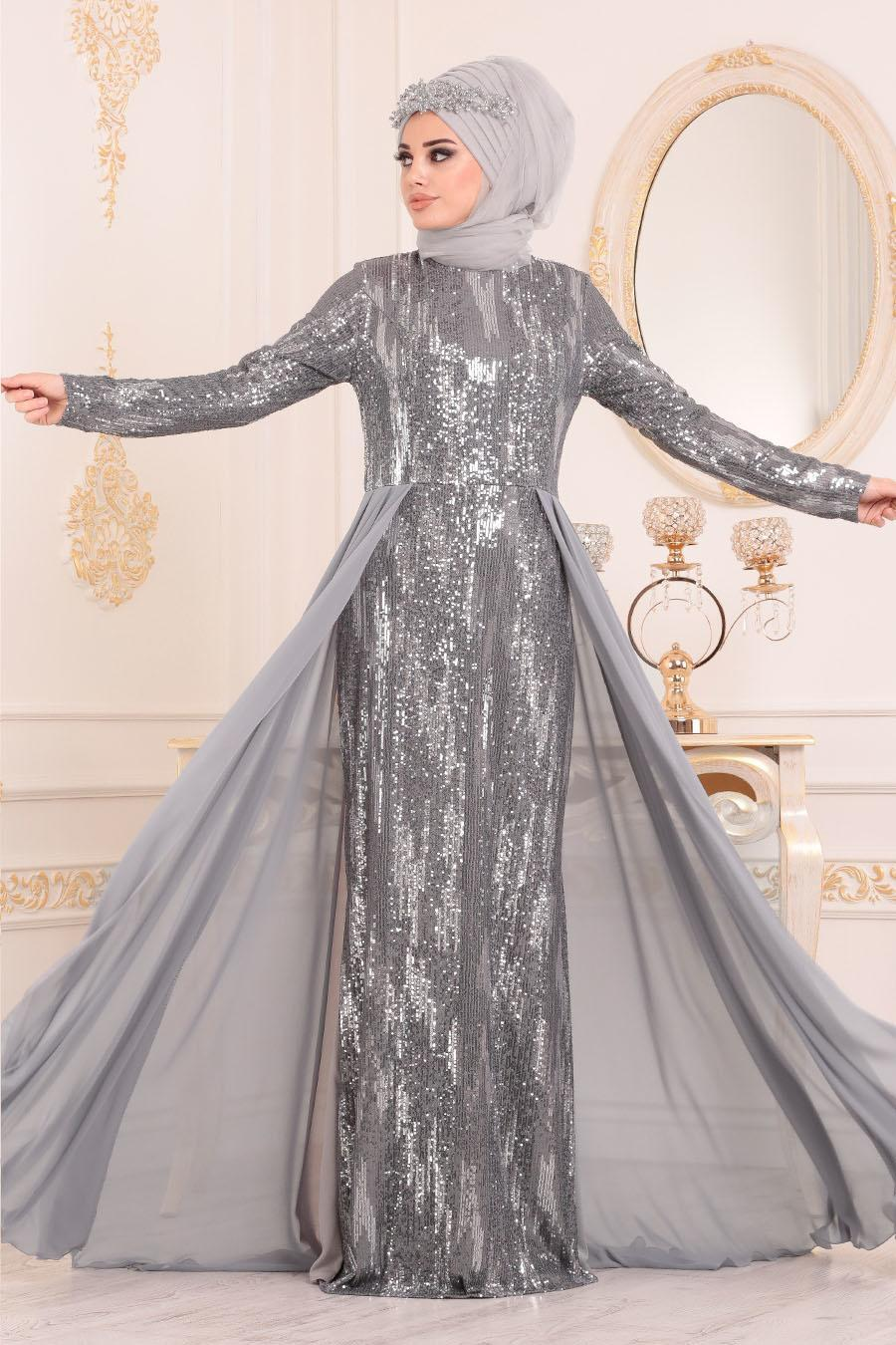 Nayla Collection - Pul Payetli Gri Tesettür Abiye Elbise 25740GR