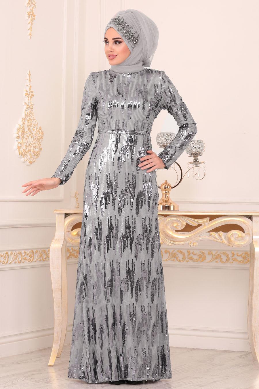 Nayla Collection - Pul Payetli Gri Tesettür Abiye Elbise 9110GR