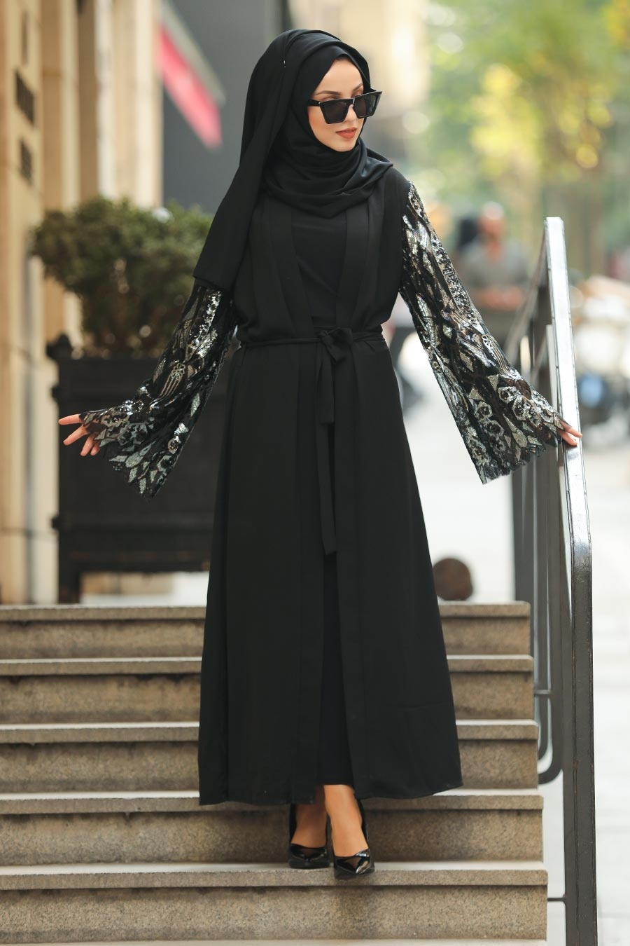 Nayla Collection - Pul Payetli Siyah Tesettür Abaya 95761S