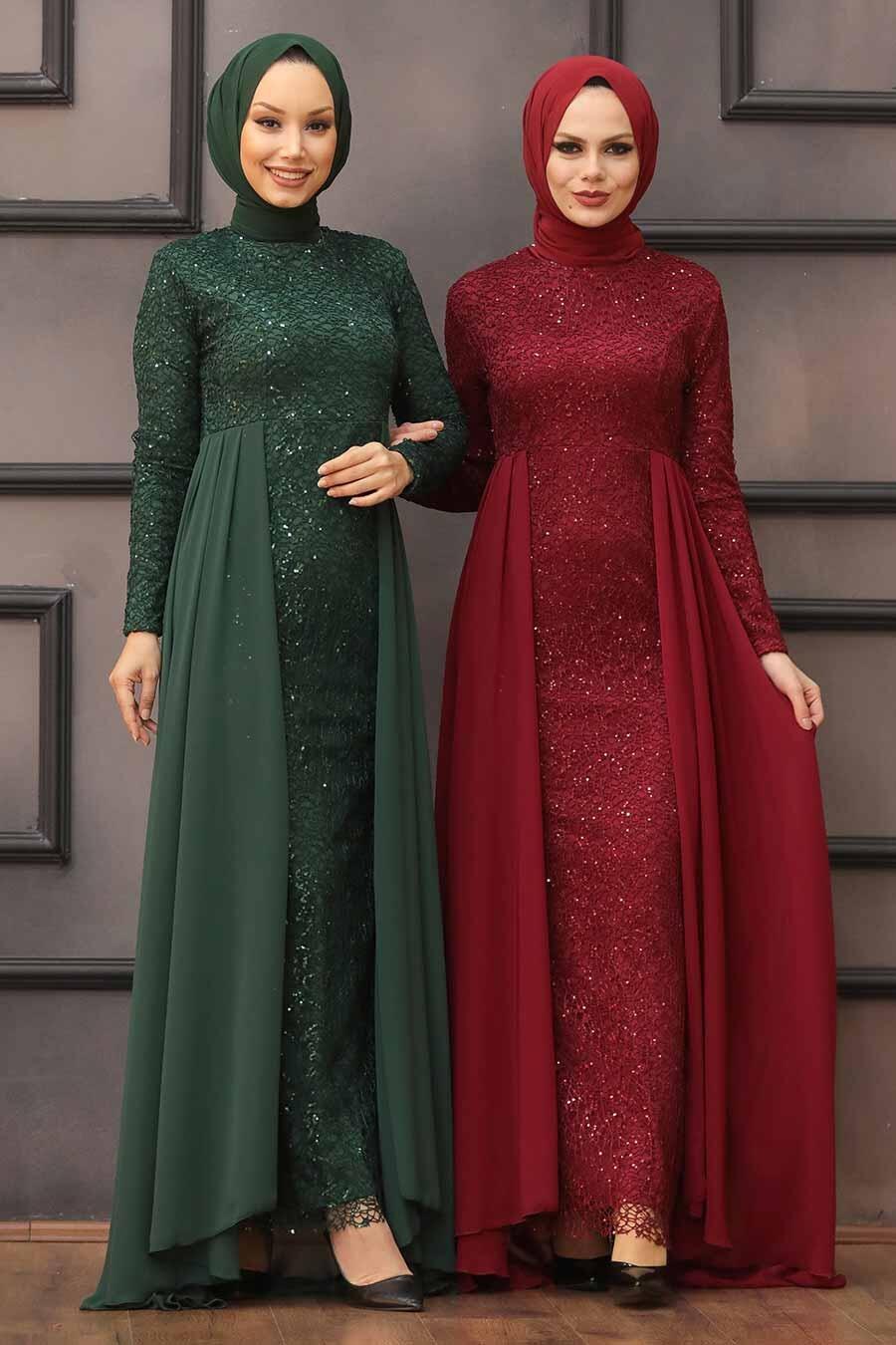 Nayla Collection - Pullu Bordo Tesettür Abiye Elbise 90000BR