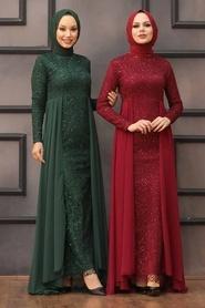 Nayla Collection - Pullu Bordo Tesettür Abiye Elbise 90000BR - Thumbnail
