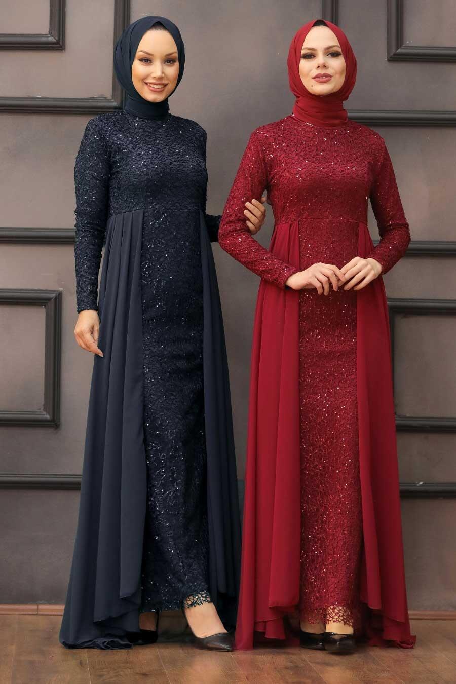 Nayla Collection - Pullu Lacivert Tesettür Abiye Elbise 90000L